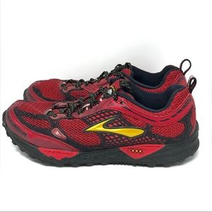 Brooks Cascadia Men Shoes, Red and Black Size 9M